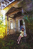 (yyellowbird) Tags: girl cari selfportrait abandoned house illinois porch fall