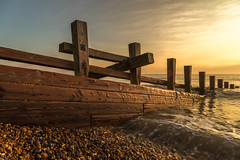 Sea defences at Winchelsea Beach (framboise_sjb) Tags: 2016 eastsussex ryeharbour sunrise englishchannel groynes shingle surf landscape landscapephotography sea seascape seaview seadefences winchelseabeach rye