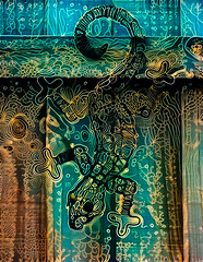 The Slithering Lizard (Steve Taylor (Photography)) Tags: lizard design reptile art digital fence black blue green brown yellow weird crazy mad odd strange lines outline pattern crawling