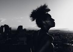 Urban thoughts (Johnidis) Tags: urban thoughts portrait profile afro cityscape city bw bnw athens johnidis d5100 nikon woman