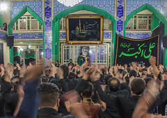 Iranian shiite muslim mourners chanting  during muharram inside a hosseinieh, Yazd province, Yazd, Iran (Eric Lafforgue) Tags: 9people adultsonly ashura celebrate celebration ceremony colorimage commemorate crowd culture groupofpeople horizontal hosseinieh hussain imamhussein indoors iran islam islamic largegroupofpeople memorialevent men menonly middleeast mourning muharram muslims onlymen people persia religion religious ritual script shia shiism shiite sorrow togetherness trance yazd yazdprovince