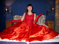 Super skirt (Paula Satijn) Tags: red satin silk hot sexy lady girl gurl tgirl transvestite dress gown ballgown skirt shiny gloves lipstick fun bed glamour joy smile
