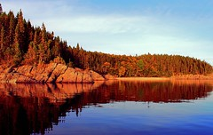 Canoeing in Newfoundland (Orion 2) Tags: canoeing lake newfoundlandandlabrador canada canoe september cold calm reflections rockyshoreline cliffs trees pinetrees