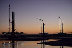 Mersey Gateway Bridge (December) (jonknipe) Tags: gateway mersey runcorn widnes bridge river construction sunrise dawn crane