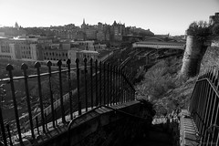 Be careful when you run down stairs (OR_U) Tags: 2016 oru uk scotland edinburgh city centre stairs fence bw blackandwhite blackwhite schwarzweiss monochrome trainstation edinburghwaverley waverley northbridge bridge skyline capital jacobsladder