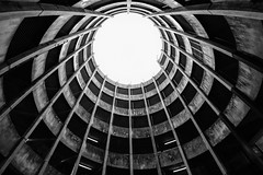 Looking Up! (~g@ry~ (clevedon-clarks)) Tags: architectural architecture lookingup blackwhite monochrome taunton car park samyang 8mm f28 umc ii somerset bw fuji xt1