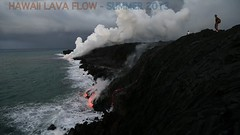 Molten lava pouring into sea-Hawaii (SparkyLeigh) Tags: photography hawaii lava video short entering hilbert molten 2013 videoshd sealeigh