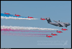 Airbus A400M and Red Arrows Flypast (evansaviography) Tags: military smoke formation airshow airbus atlas grizzly redarrows raf fairford a400 riat royalinternationalairtattoo flypast royalairforce 2013 friat a400m