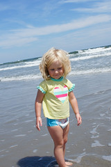 Pyper Pypes (86thetomato) Tags: ocean blue summer portrait sky people beach water person newjersey sand toddler waves south bluesky atlantic niece shore jersey jerseyshore southjersey strathmere pyper whalebeach