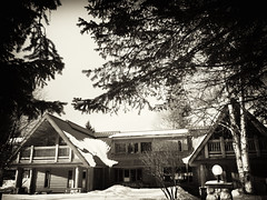 The Lodge (B&W) (RD Crisp Photography) Tags: blackandwhite bw canada mono britishcolumbia operation loos heliski heliskiing thelodge niksoftware silverefexpro crescentspur