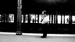 5 SUBWAY B&W (bill sweeney4) Tags: nyc newyorkcity station train underground subway metro platform mta lateoctober