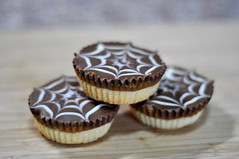 get in my belly (charlottehbest) Tags: food cooking halloween baking yummy chocolate caramel homemade shortbread spiderwebs baked millionaires feathering halloweentreats millionairesshortbread charlottehbest