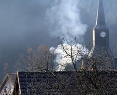 (:Linda:) Tags: clock church germany village smoke thuringia spire rauch brden