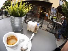 streetSaluzzo2013_PA270994_1 (stegdino) Tags: verde green cup grass bar cafe empty fisheye erba pot caff vaso tazza vuoto gamewinner yourockwinner odddangle