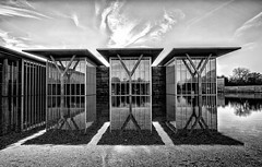 bw (Barrett Campbell) Tags: bw reflection art water museum modern fort ft worth the