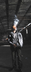 smokey gaze (skater nation) Tags: california graffiti skateboarding smoke kitlens richmond warehouse skateboard d3000