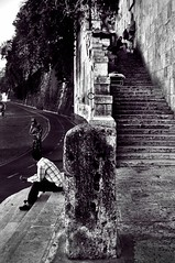 Lungotevere Anguillara (.::CaoSCalmO::.) Tags: white black rome roma stairway tevere lungotevere scala bianco nero