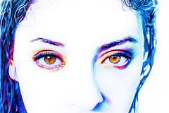 Iridescence (SkylerBrown) Tags: california blue portrait orange usa art girl beautiful face pen paper amazing cool intense artwork colorful pretty drawing gorgeous dramatic pale teen sacramento sharpie browneyes bluehair whiteout caucasian skylerbrown caitlinlukasiewicz