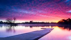 Petersfield Lakes Sunrise (Christopher Pope Photography) Tags: awesomesky 2014 sunset mist frost petersfieldlake pontoon hampshire lake