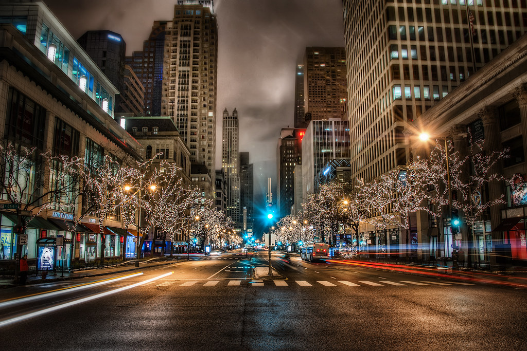 A cold winter morning on Michigan Ave.