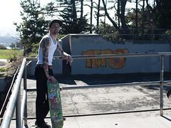 Dino (arterial spray) Tags: sanfrancisco california morning tattoo graffiti woods dino january battery 3a independent skateboard ft gsb presidio wifebeater skateboarder 2014 repo nollie fortmiley dalliswillard