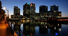 Canary Wharf evening. (Westhamwolf) Tags: london canary wharf docklands south quay herons lord amory boat scouts hsbc sky scraper city evening night water