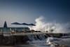 Well protected ;-) (jan.scho) Tags: welle wellen windig spritzen nass gischt meer strnd schirm sonnenschirm schirme aufgeklappt beschützt strand griechenland kreta aldiana