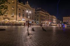 after dark (stevefge) Tags: krakow poland night evening dark squares buskers reflectyourworld reflections oldtown people