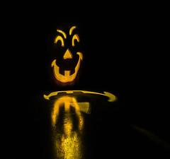 happy halloween everyone! (pbo31) Tags: livermore california jackolantern halloween holiday pleasanton eastbay alamedacounty bayarea black night dark october 2016 fall boury pbo31 pumpkin frontporch color trickortreat yellow reflection spooky face