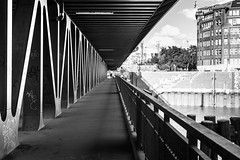 Yet another bridge / remember the beautiful path behind you (zgr Grgey) Tags: 2016 35mm bw d750 hamburg nikon oberhafenbrcke samyang architecture bridge building lines perspective street germany