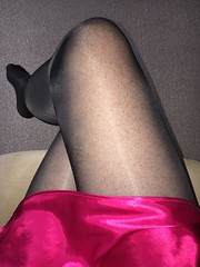 Saturday morning (TVNicola & Mistress) Tags: sissy slip knickers satin tights black
