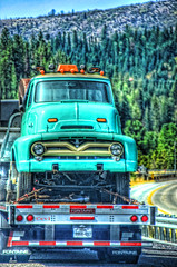 Hitchhicker (creepingvinesimages - mostly off while I relocate ) Tags: htt trucks green vintage flatbed montana sky clouds outdoors nikon d7000 pse14 photomatix topaz