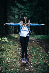 Levitation practice (dawolf-) Tags: halloween girl cross woman jump wood forest spooky floating flying nature naturallight haunted ghost outdoor nationalpark autumn portrait travel hike