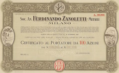 FERDINANDO ZANOLETTI - METALLI SOC. AN. (scripofilia) Tags: 1922 anonima azioni ferdinando metalli societ zanoletti
