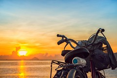 Sunrise at Nha Trang beach / Bnh minh trn bin Nha Trang (break_away) (V_Quang) Tags: beach bicycle blue bottle clouds couple dawn nha park people sand sky sunrise swim trang transportation two vietnam water wheel yellow bnhminh nhatrang xep bin phongcnh dulch ct nng tri my