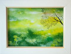 Gallery Gonski, Glass Oil Painting by Mimi Marjanovi-Gonski (GALLERY GONSKI) Tags: gallerygonski glassoilpainting glass gallery painting art green yellow landscape fields tree bird