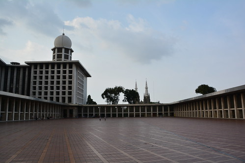 Courtyard of the Masjid Istiqlal (National Mosque), largest mosque in SE Asia