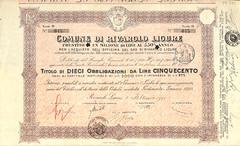 COMUNE DI RIVAROLO LIGURE (scripofilia) Tags: 1925 comune comunedirivarololigure ligure obbligazioni rivarolo