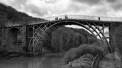 the old iron bridge (mono) (lunaryuna) Tags: england shropshire telfordheritagetrail ironbrdige theironbridge architectureinlandscape riversevern beautyofdesign victorianengineering unescoheritagesite lunaryuna bridge