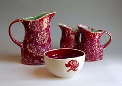 Waratah Red Arrangement (Yitchie) Tags: waratah red dmpottery handmade ceramics pottery australian floral christmas