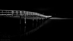 Bridge to nowhere - 4k wallpaper DSC03761 (cleansurf2) Tags: bw black white monotone night dark high contrast bridge wooden water landscape waterscape screensaver widescreen 16x9 4k wallpaper scene minimual minimalism midnight river crescenthead creek