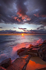 To Be True As The Tide (Phil~Koch) Tags: clouds travel journey life mood emotions country outdoors colors living heaven weather horizons sunrise lines landscape sun light field art meadow sky twilight horizon beam ray sunset wisconsin scenic vertical photography blue yellow office portrait serene morning dawn nature natural earth environment inspired inspirational season beautiful peace hope love joy dramatic unity trending popular canon camera rural fineart arts fall autumn lakemichigan shore waves surf
