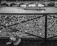 (C-47) Tags: bw blackwhite black beautiful city canon composition white water paris people poetry life light love lovelock lovelocks padlock locks bridge seine