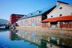 Otaru Canal (Gai) Tags:    otaru hokkaido japan   summer water   canal  architecture  warehouse  green     blue sky