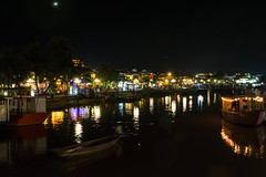 City of lights (Xnalanx) Tags: asia boat buildings environment hoian manmade moon night objects places restaurant river sky time vehicles vietnam water