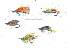 Flies 3 (artbybernadette) Tags: flies inkandwatercolor sketch fishing