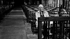 Normandy, 2012 () Tags: life street leica old travel portrait man france church stone zeiss chair floor cathedral 28mm deep streetphotography atmosphere ground snap sit thinking m8 wait inside normandie range f28 rf zm