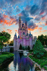 The Sun Sets on Cinderella Castle (TheTimeTheSpace) Tags: sunset colors clouds nikon disney disneyworld waltdisneyworld moat magickingdom d800 cinderellacastle matthewcooper