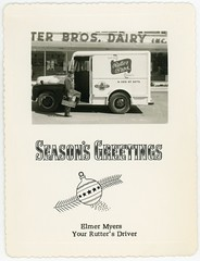 Season's Greetings from Your Rutter's Milkman (Alan Mays) Tags: christmas york xmas old food signs men portraits vintage ads advertising cards typography milk clothing holidays cows bottles photos pennsylvania hats ephemera clothes vehicles pa photographs drinks type occupational trucks christmascards uniforms greetings banners advertisements fonts beverages logos guernsey slogans drivers businesses employees myers companies typefaces foundphotos milkmen milkman greetingcards rutter milkbottles scrolls deliveries yorkcounty dairies milkdelivery rutters dairyproducts goldenguernsey december25 milktrucks milkdeliverytrucks photographicgreetingcards rutterbros elmermyers tablemilk