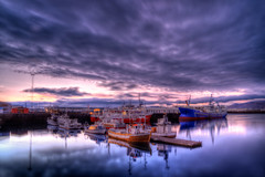 Reykjavk Harbour (MichellePhotos2) Tags: ocean summer sky reflection water clouds marina boats iceland twilight nikon europe harbour reykjavk 2013 d800e nikond800e